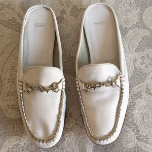 coach White slide on Loafers Italian Leather